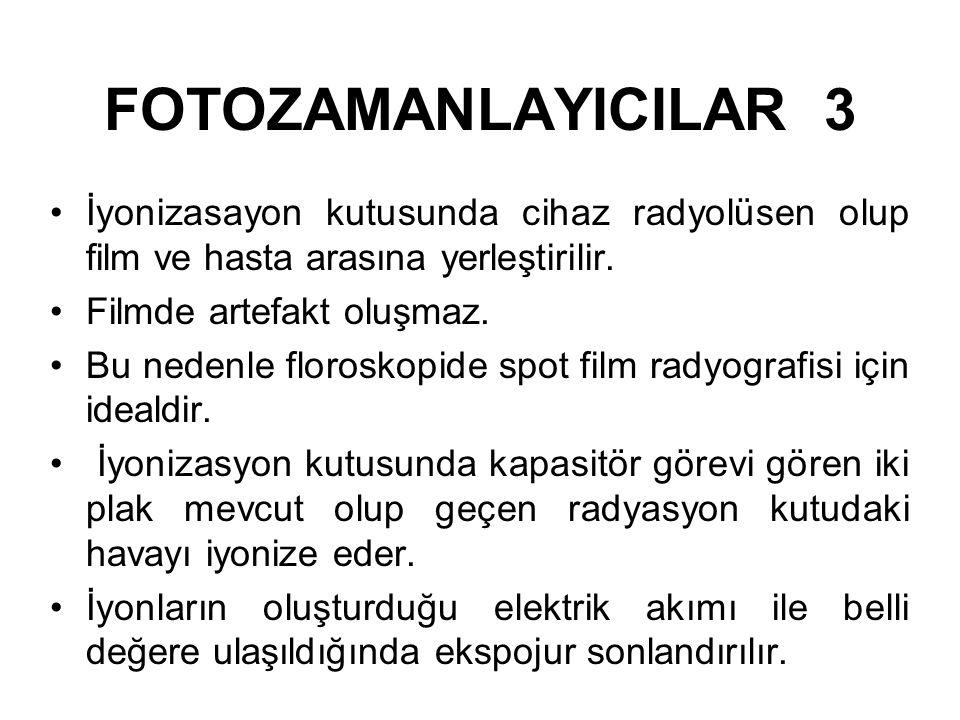 FOTOZAMANLAYICILAR 2 Fotomultiplier tüpte filmin arkasına yerleştirilmiş floresans bir ekran filme gelen radyasyon ile orantılı olarak ışık saçar. Bu