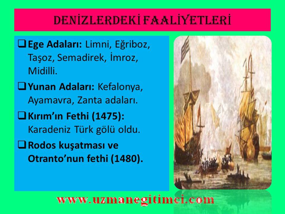 OSMANLI-AKKOYUNLU MÜCADELES İ  Sonuçları:  Osmanlı kazandı.