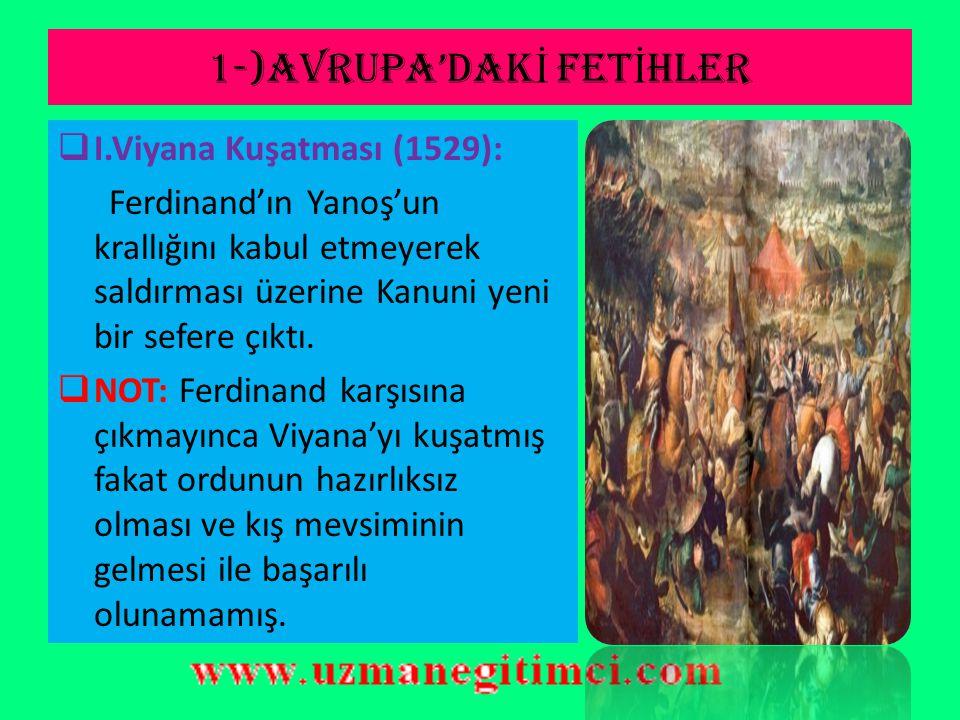 1-)AVRUPA'DAK İ FET İ HLER  Belgrat'ın Fethi (1521): Orta Avrupa'nın kapıları Osmanlılara açılmıştır.