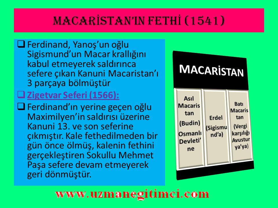 İ STANBUL ANTLA Ş MASI( İ BRAH İ M PA Ş A1533)  1533 İstanbul Antlaşmasına göre:  Ferdinand Yanoş'un Macar krallığını kabul edecek.