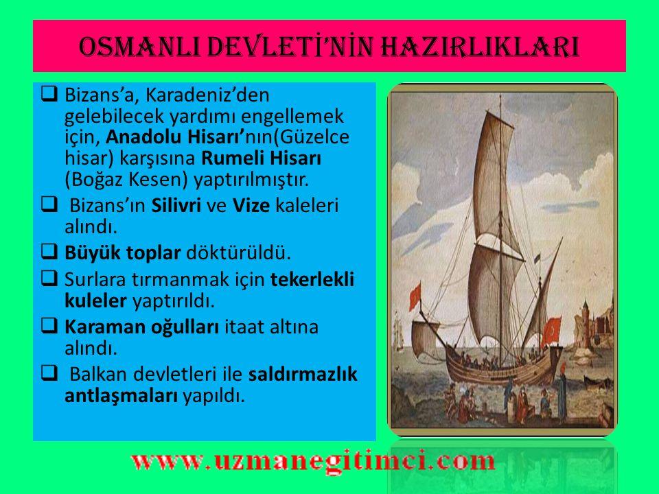 FAT İ H SULTAN MEHMET DÖNEM İ (1451-1481)  İstanbul'un Fethi (29 Mayıs 1453):  Sebepleri:  Anadolu - Rumeli toprak bağlantısını kesmesi.