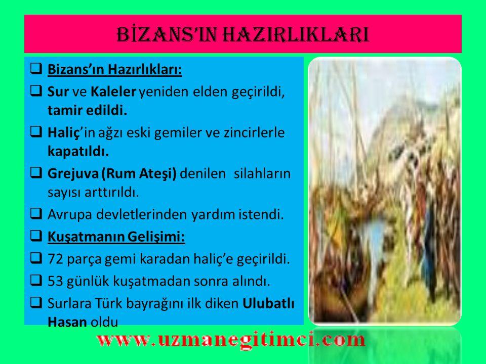 OSMANLI DEVLET İ 'N İ N HAZIRLIKLARI  Bizans'a, Karadeniz'den gelebilecek yardımı engellemek için, Anadolu Hisarı'nın(Güzelce hisar) karşısına Rumeli Hisarı (Boğaz Kesen) yaptırılmıştır.