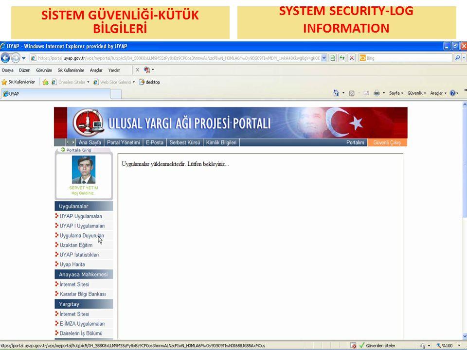 SİSTEM GÜVENLİĞİ-KÜTÜK BİLGİLERİ Ekran görüntüsü SYSTEM SECURITY-LOG INFORMATION Ekran görüntüsü