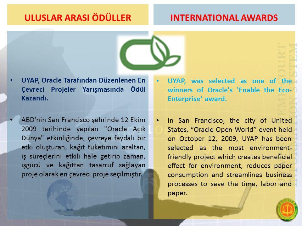 ULUSLAR ARASI ÖDÜLLER UYAP, Oracle Tarafından Düzenlenen En Çevreci Projeler Yarışmasında Ödül Kazandı. ABD'nin San Francisco şehrinde 12 Ekim 2009 ta