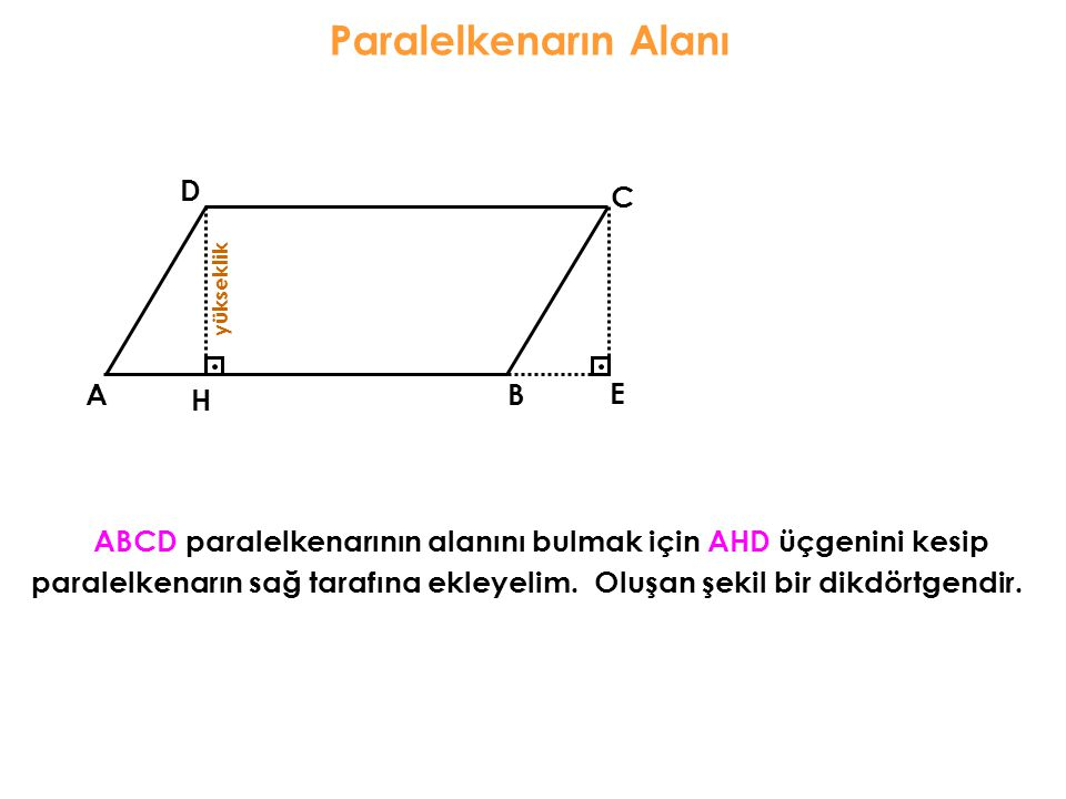 Paralelkenarın Alanı ABCD paralelkenarının alanını bulmak için AHD üçgenini kesip AB C D y ü k s e k l i k H paralelkenarın sağ tarafına ekleyelim.Olu