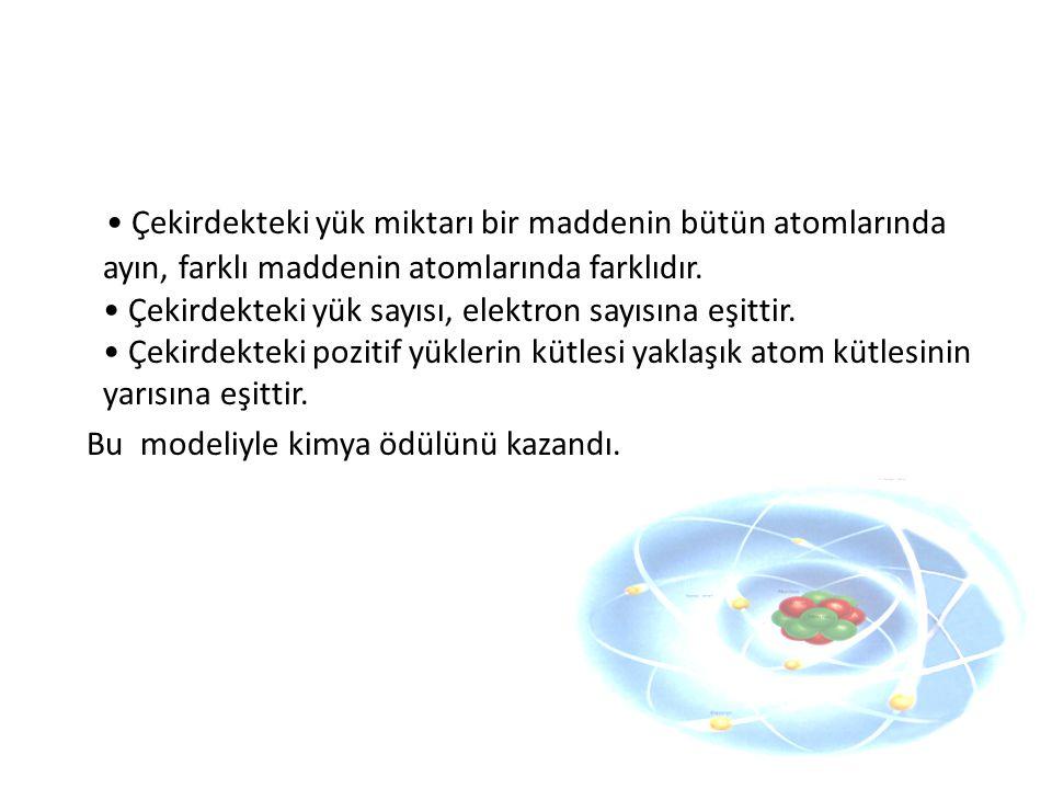 Çekirdekteki yük miktarı bir maddenin bütün atomlarında ayın, farklı maddenin atomlarında farklıdır. Çekirdekteki yük sayısı, elektron sayısına eşitti