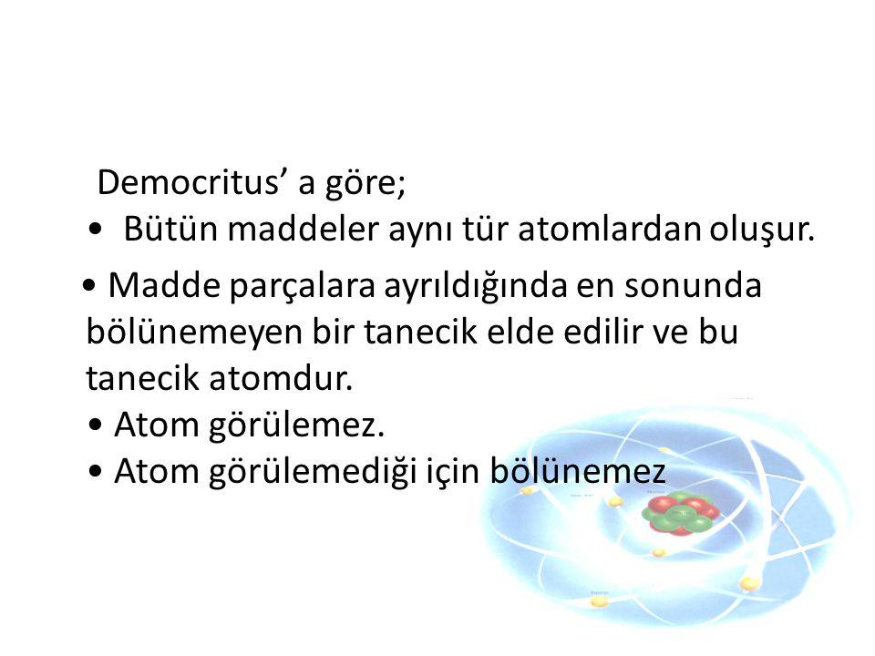 Democritus' a göre; Bütün maddeler aynı tür atomlardan oluşur. Madde parçalara ayrıldığında en sonunda bölünemeyen bir tanecik elde edilir ve bu tanec