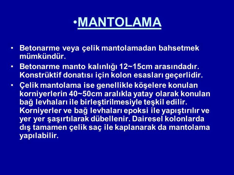 MANTOLAMA Betonarme veya çelik mantolamadan bahsetmek mümkündür. Betonarme manto kalınlığı 12~15cm arasındadır. Konstrüktif donatısı için kolon esasla