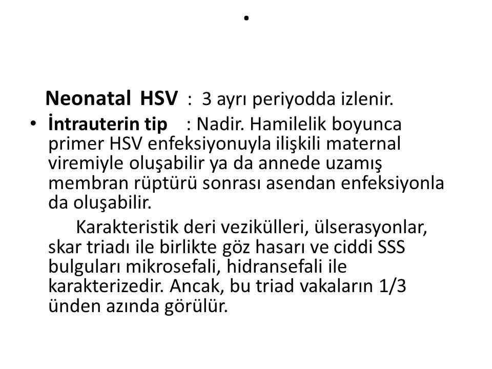 . Neonatal HSV : 3 ayrı periyodda izlenir. İntrauterin tip : Nadir. Hamilelik boyunca primer HSV enfeksiyonuyla ilişkili maternal viremiyle oluşabilir