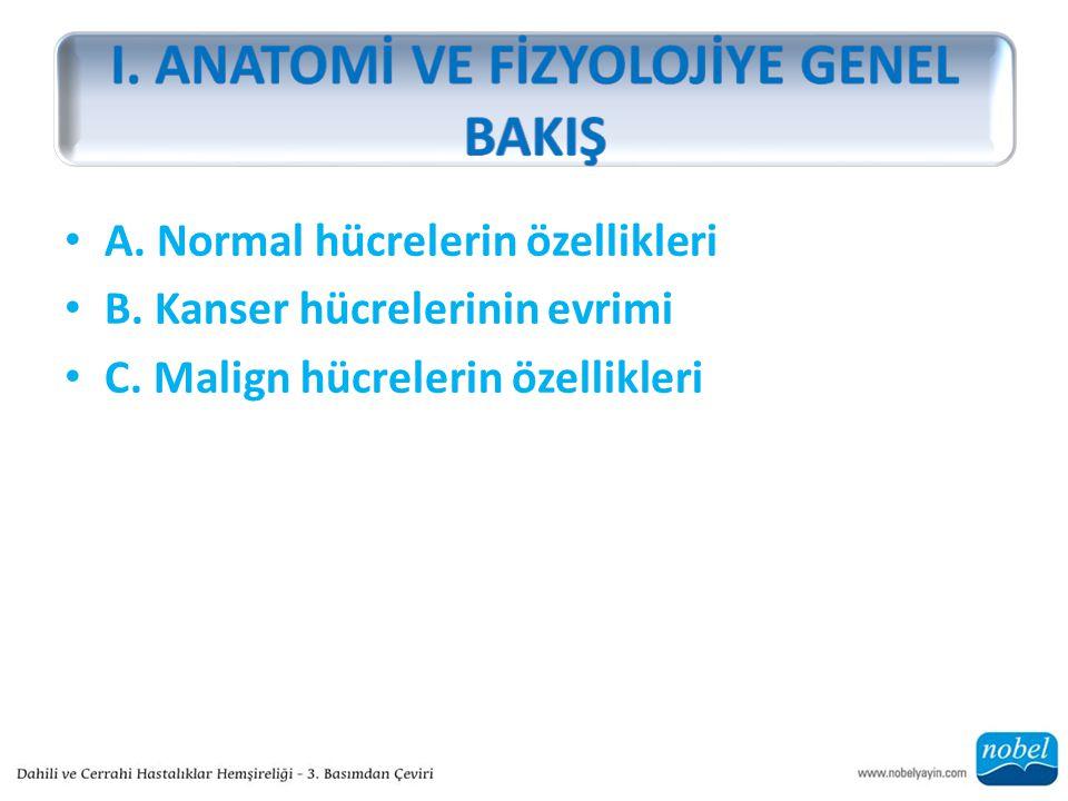 A. Normal hücrelerin özellikleri B. Kanser hücrelerinin evrimi C. Malign hücrelerin özellikleri