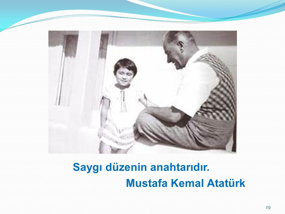 Saygı düzenin anahtarıdır. Mustafa Kemal Atatürk 29