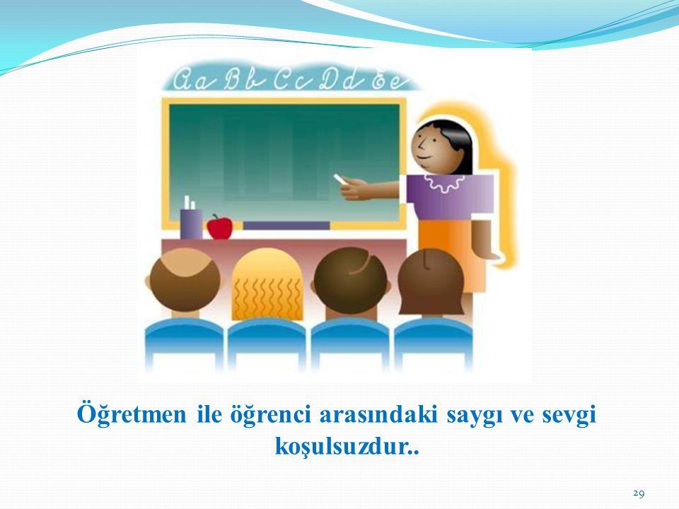 Öğretmen ile öğrenci arasındaki saygı ve sevgi koşulsuzdur.. 29