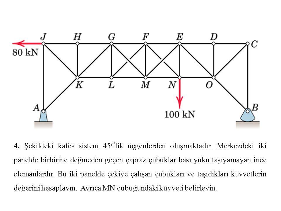 4. Şekildeki kafes sistem 45 o' lik üçgenlerden oluşmaktadır. Merkezdeki iki panelde birbirine değmeden geçen çapraz çubuklar bası yükü taşıyamayan in