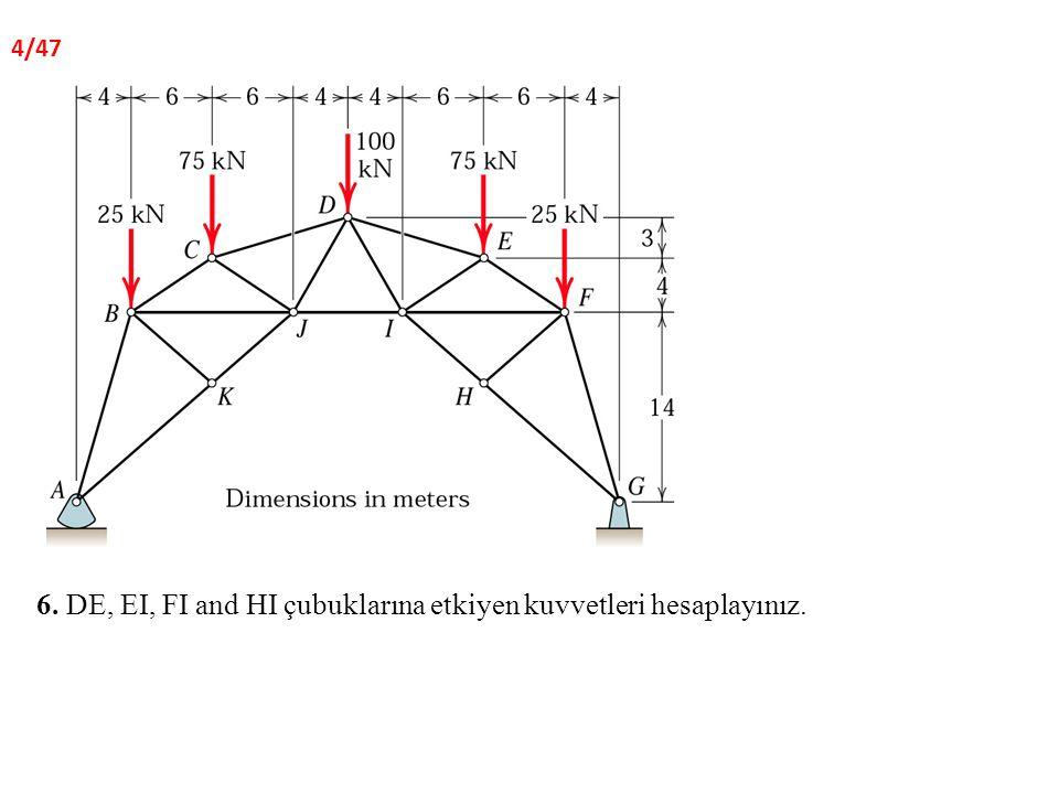 6. DE, EI, FI and HI çubuklarına etkiyen kuvvetleri hesaplayınız. 4/47