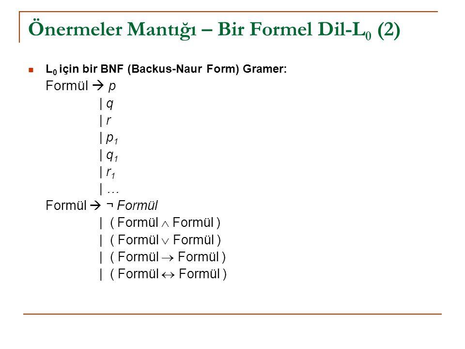 Önermeler Mantığı – Bir Formel Dil-L 0 (2) L 0 için bir BNF (Backus-Naur Form) Gramer: Formül  p | q | r | p 1 | q 1 | r 1 | … Formül  ¬ Formül | (