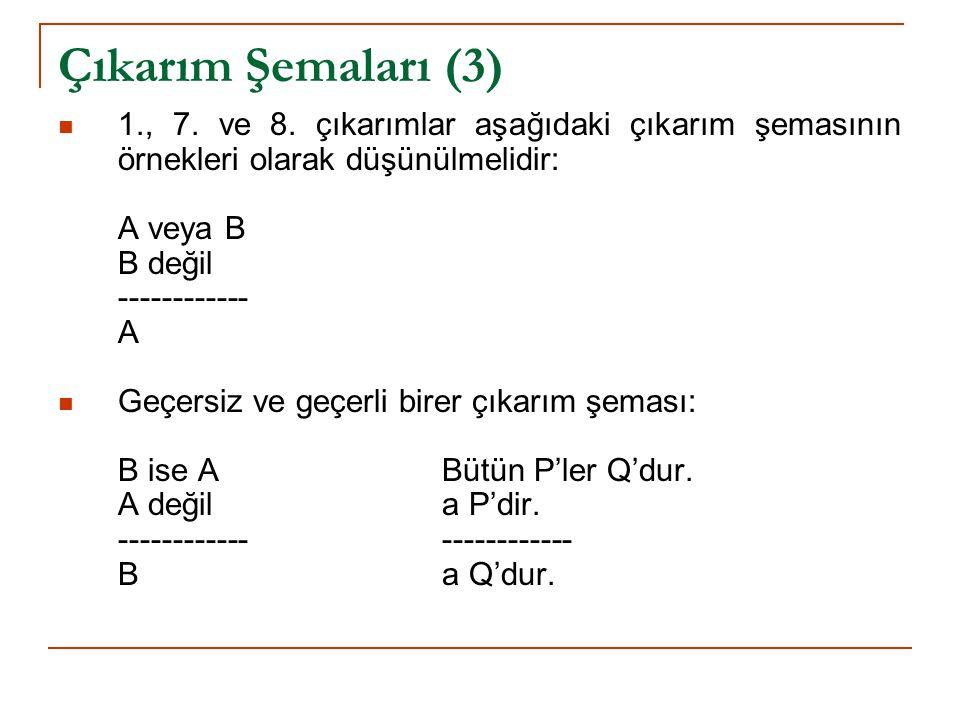 Çıkarım Şemaları (3) 1., 7. ve 8. çıkarımlar aşağıdaki çıkarım şemasının örnekleri olarak düşünülmelidir: A veya B B değil ------------ A Geçersiz ve