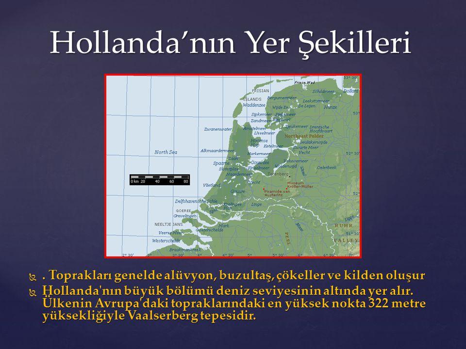 Hollanda'nın Yer Şekilleri . Toprakları genelde alüvyon, buzultaş, çökeller ve kilden oluşur  Hollanda'nın büyük bölümü deniz seviyesinin altında ye