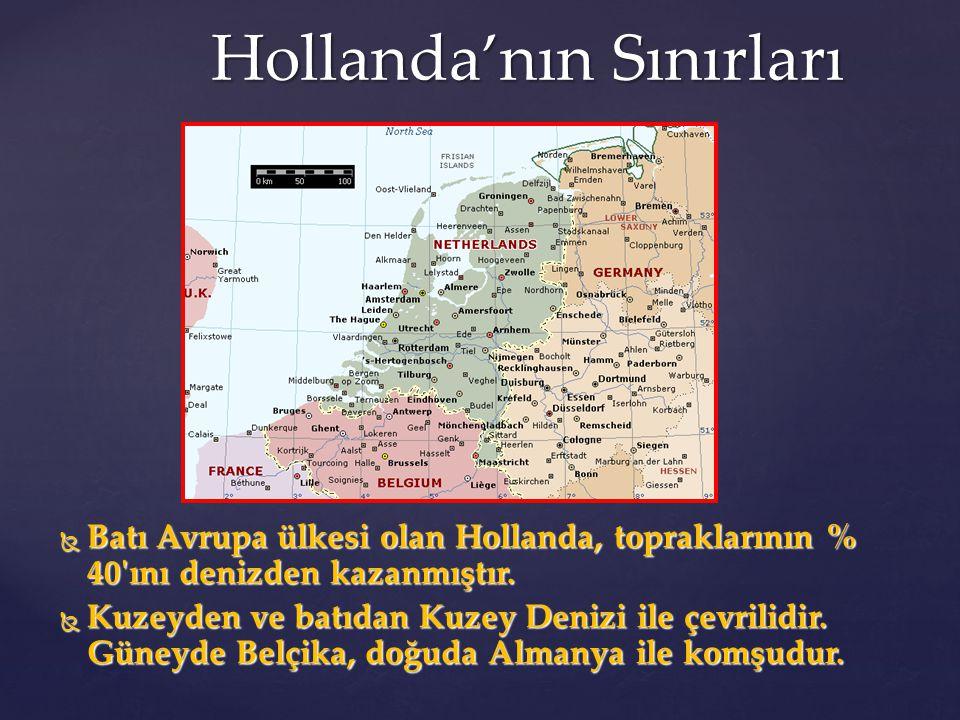 Hollanda'nın Sınırları  Batı Avrupa ülkesi olan Hollanda, topraklarının % 40'ını denizden kazanmıştır.  Kuzeyden ve batıdan Kuzey Denizi ile çevrili