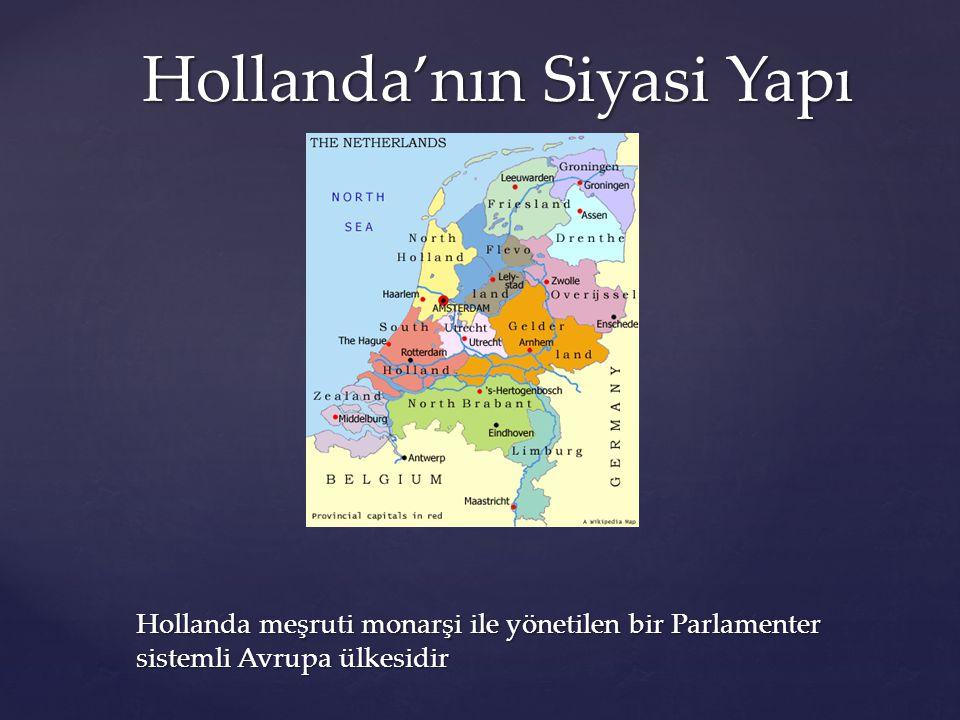 Hollanda'nın Siyasi Yapı Hollanda meşruti monarşi ile yönetilen bir Parlamenter sistemli Avrupa ülkesidir