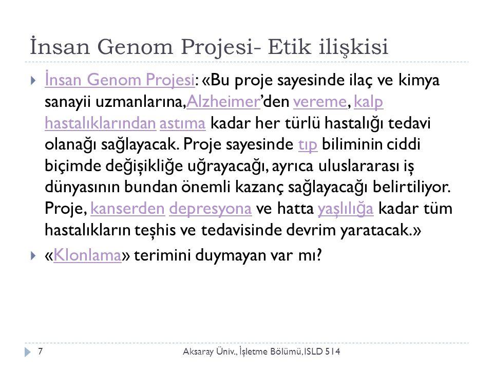 İGP – Etik (süreği): İnsanlığın İnsanlığı Tasarlaması Aksaray Üniv., İ şletme Bölümü, ISLD 5148
