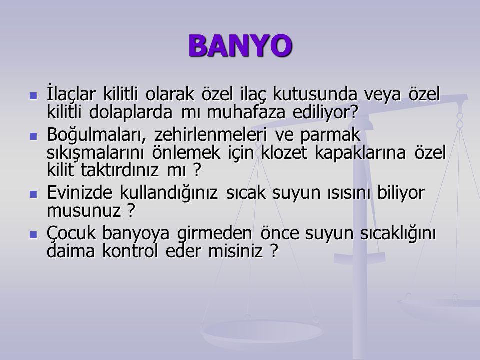 BANYO İlaçlar kilitli olarak özel ilaç kutusunda veya özel kilitli dolaplarda mı muhafaza ediliyor.