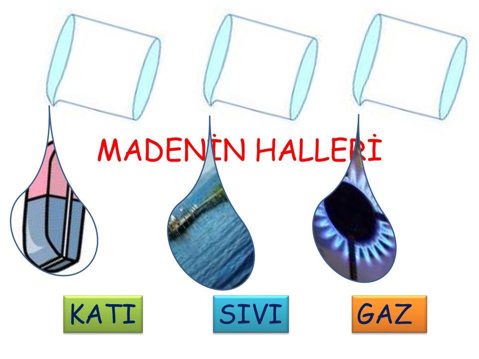 1) KATI MADDELER Maddenin biçiminin belirli olduğu haldir.