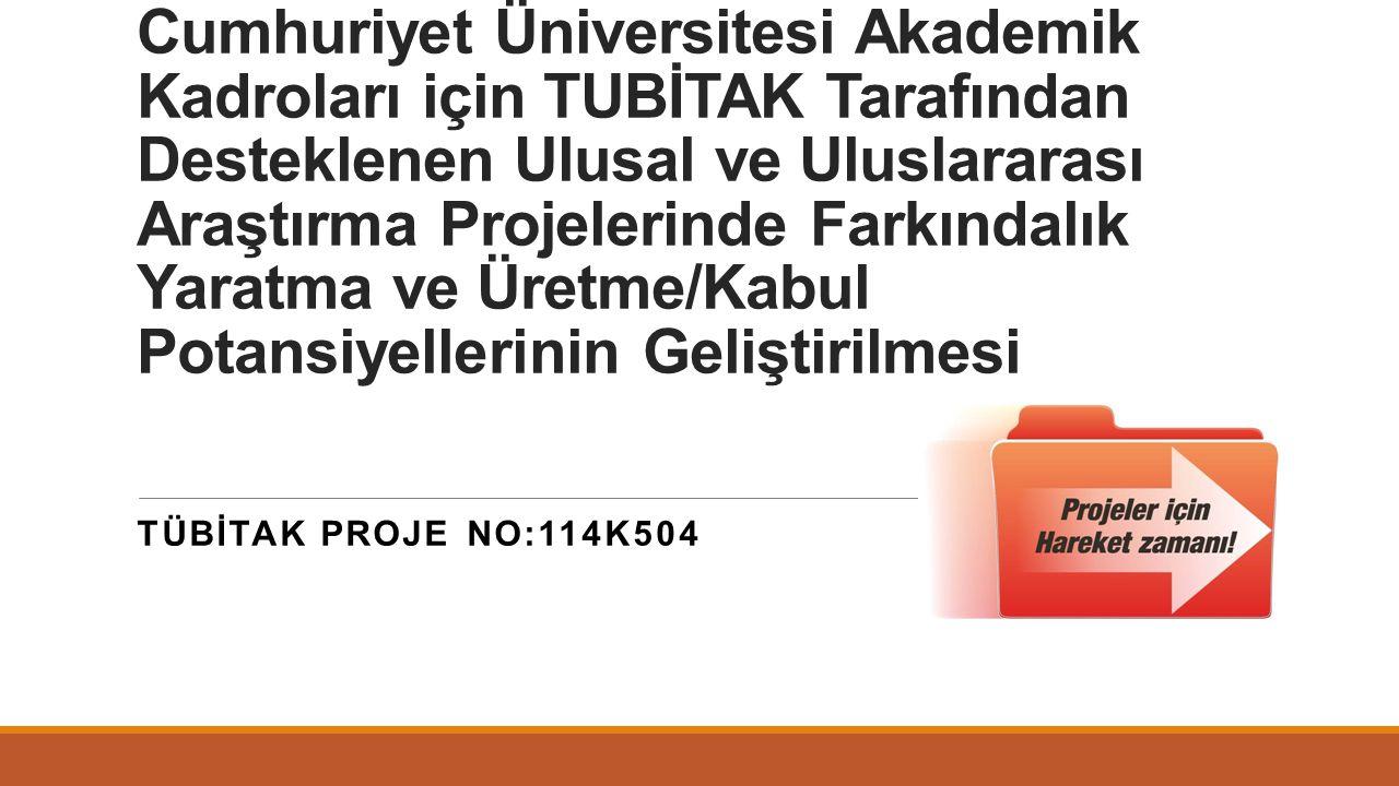 Proje genel bilgileri 1000 kodlu Üniversitelerin ARDEB (Araştırma Destek Programları Başkanlığı) Tarafından Desteklenen Programlara Yönelik Proje Üretme Kapasitesinin Artırılması Cumhuriyet Üniversitesi Akademik Kadroları için TUBİTAK Tarafından Desteklenen Ulusal ve Uluslararası Araştırma Projelerinde Farkındalık Yaratma ve Üretme/Kabul Potansiyellerinin Geliştirilmesi Proje No: 114K504 Bütçe: 99.580 TL