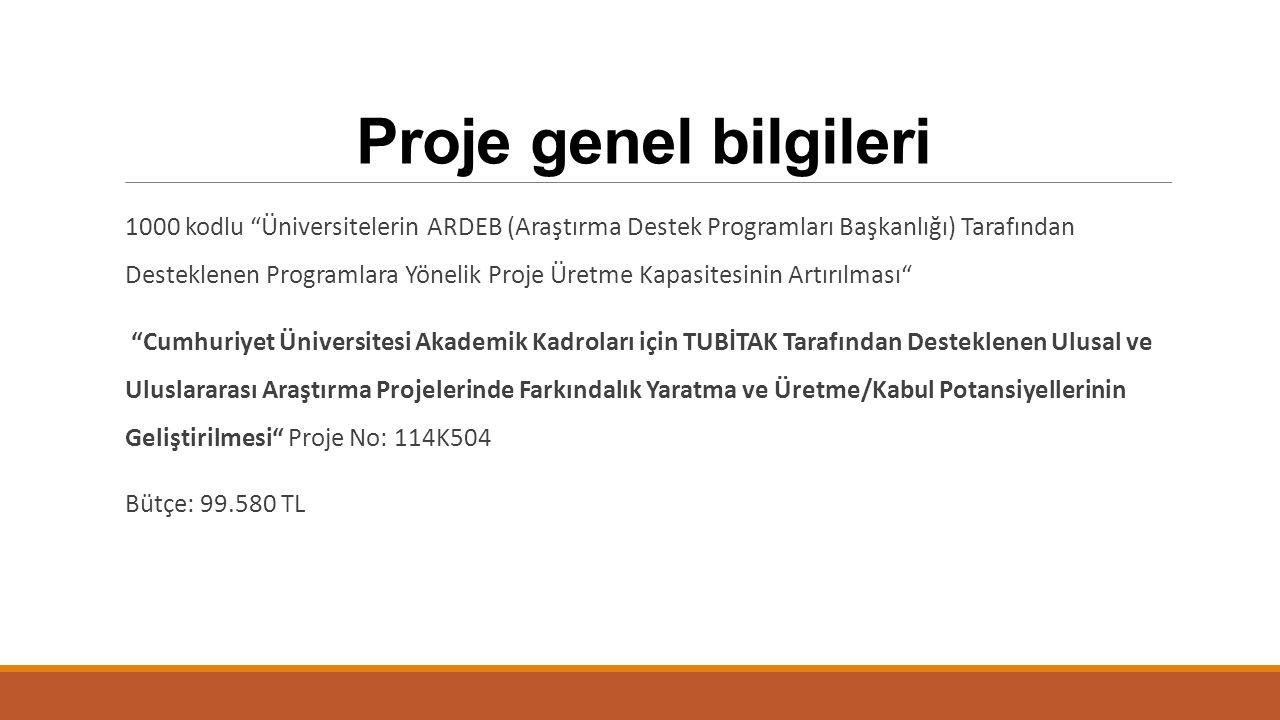 """Proje genel bilgileri 1000 kodlu """"Üniversitelerin ARDEB (Araştırma Destek Programları Başkanlığı) Tarafından Desteklenen Programlara Yönelik Proje Üre"""