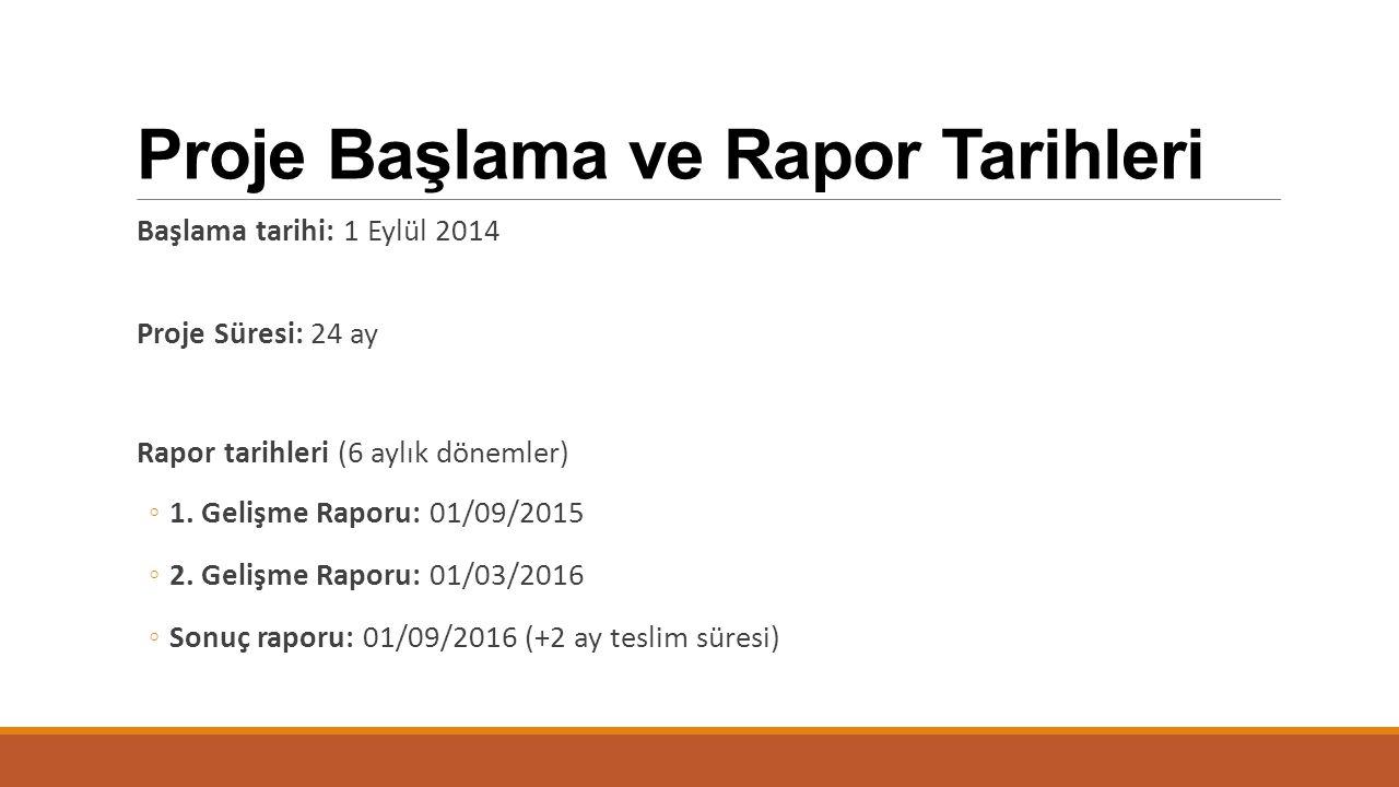 Proje Başlama ve Rapor Tarihleri Başlama tarihi: 1 Eylül 2014 Proje Süresi: 24 ay Rapor tarihleri (6 aylık dönemler) ◦1. Gelişme Raporu: 01/09/2015 ◦2