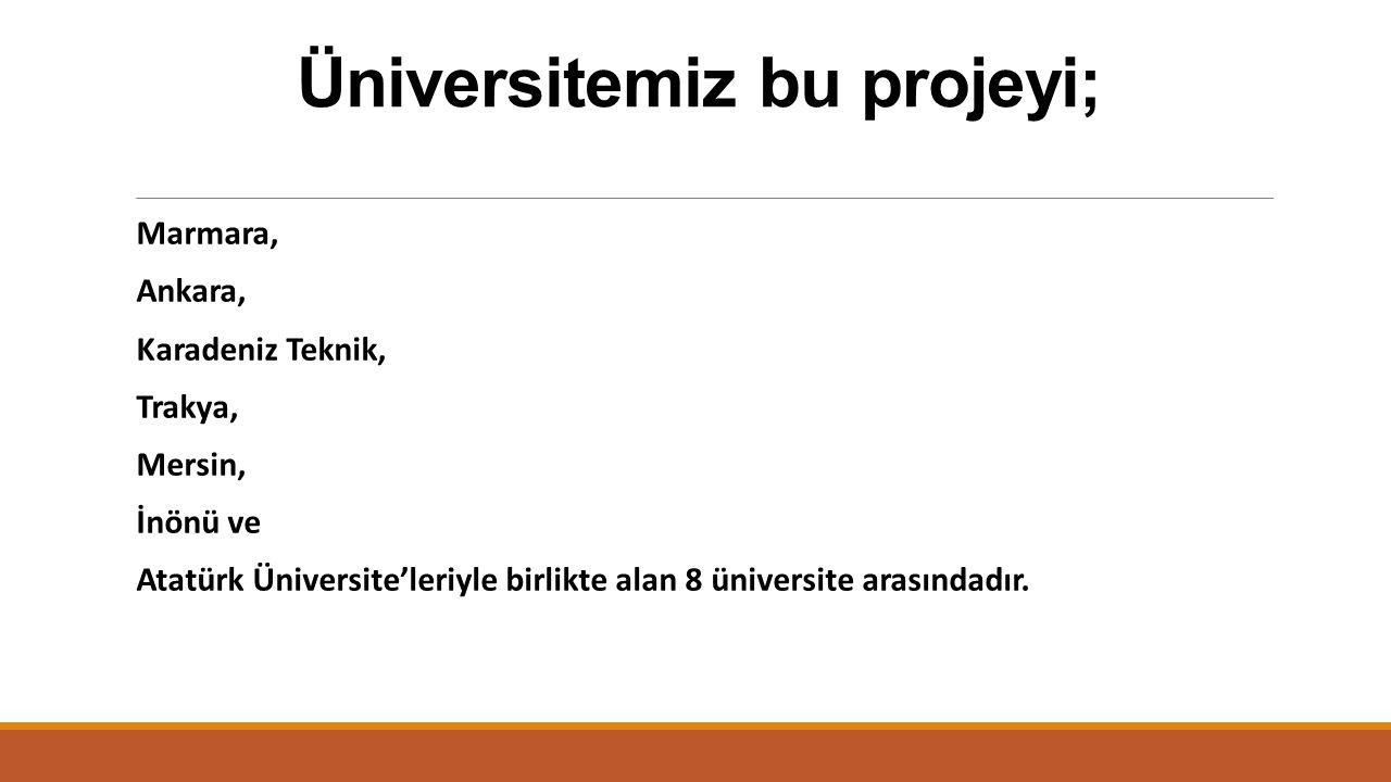 Üniversitemiz bu projeyi; Marmara, Ankara, Karadeniz Teknik, Trakya, Mersin, İnönü ve Atatürk Üniversite'leriyle birlikte alan 8 üniversite arasındadı