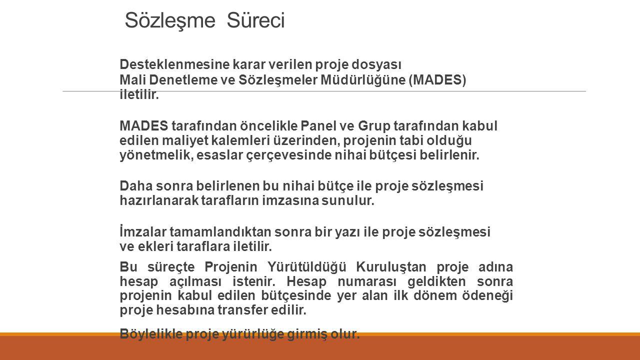Sözleşme Süreci Desteklenmesine karar verilen proje dosyası Mali Denetleme ve Sözleşmeler Müdürlüğüne (MADES) iletilir. MADES tarafından öncelikle Pan