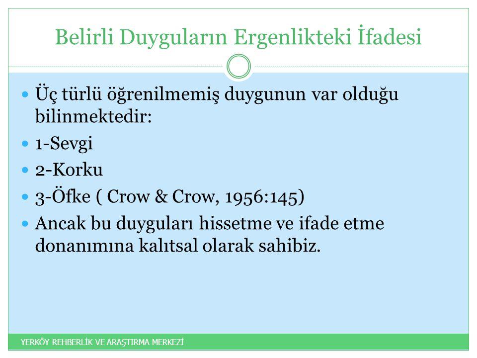 Belirli Duyguların Ergenlikteki İfadesi Üç türlü öğrenilmemiş duygunun var olduğu bilinmektedir: 1-Sevgi 2-Korku 3-Öfke ( Crow & Crow, 1956:145) Ancak