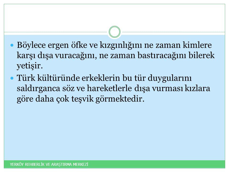 Böylece ergen öfke ve kızgınlığını ne zaman kimlere karşı dışa vuracağını, ne zaman bastıracağını bilerek yetişir. Türk kültüründe erkeklerin bu tür d