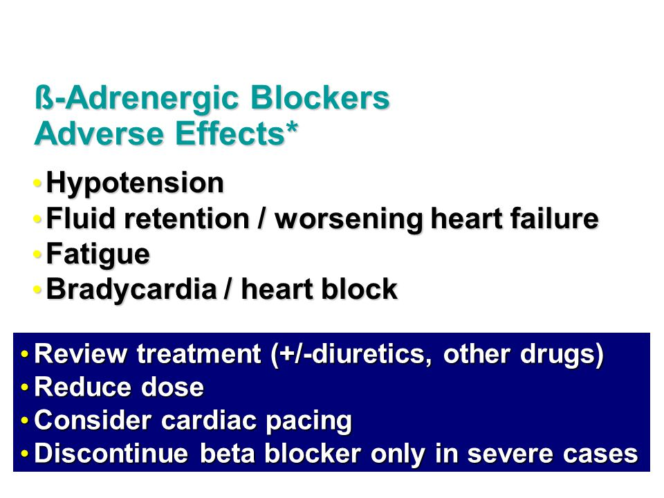 Hypotension Hypotension Fluid retention / worsening heart failure Fluid retention / worsening heart failure Fatigue Fatigue Bradycardia / heart block Bradycardia / heart block ß-Adrenergic Blockers Adverse Effects* Review treatment (+/-diuretics, other drugs) Review treatment (+/-diuretics, other drugs) Reduce dose Reduce dose Consider cardiac pacing Consider cardiac pacing Discontinue beta blocker only in severe cases Discontinue beta blocker only in severe cases
