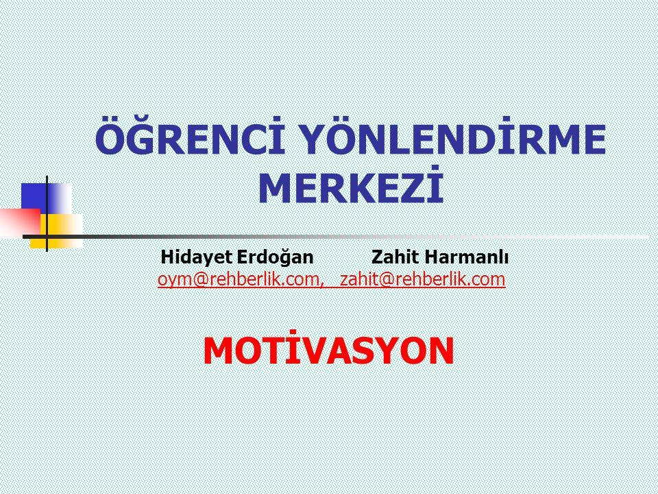 ÖĞRENCİ YÖNLENDİRME MERKEZİ MOTİVASYON Hidayet Erdoğan Zahit Harmanlı oym@rehberlik.com, zahit@rehberlik.com