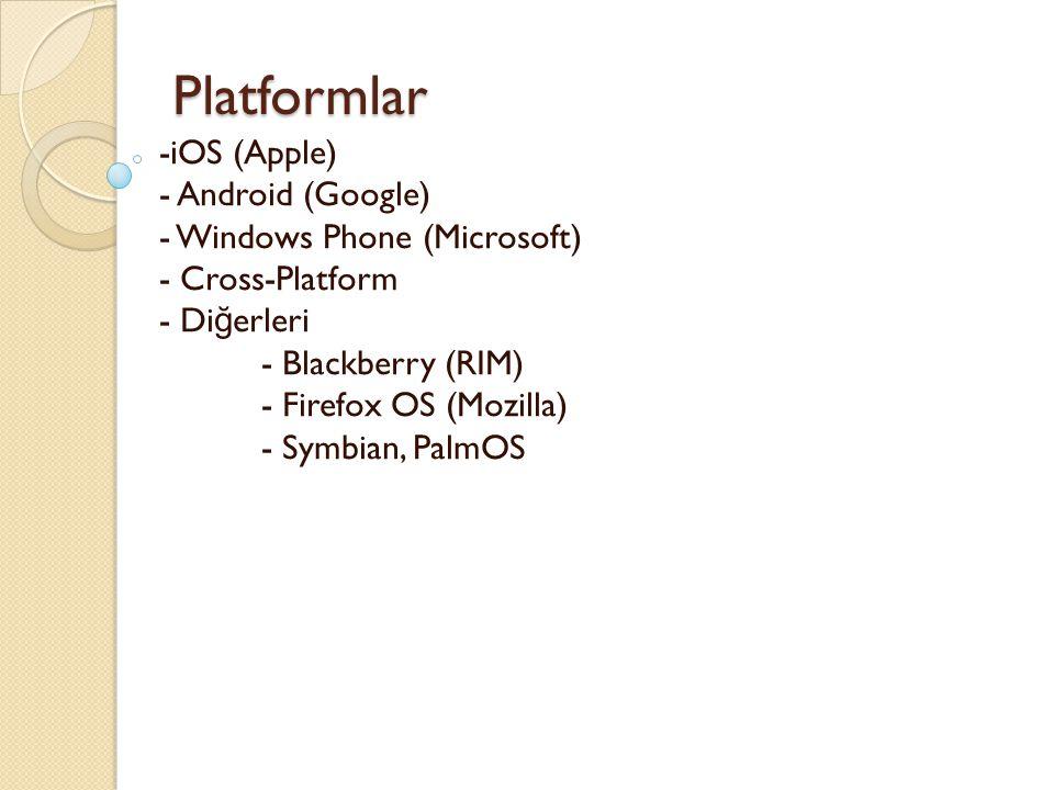 Platformlar Platformlar -iOS (Apple) - Android (Google) - Windows Phone (Microsoft) - Cross-Platform - Di ğ erleri - Blackberry (RIM) - Firefox OS (Mo