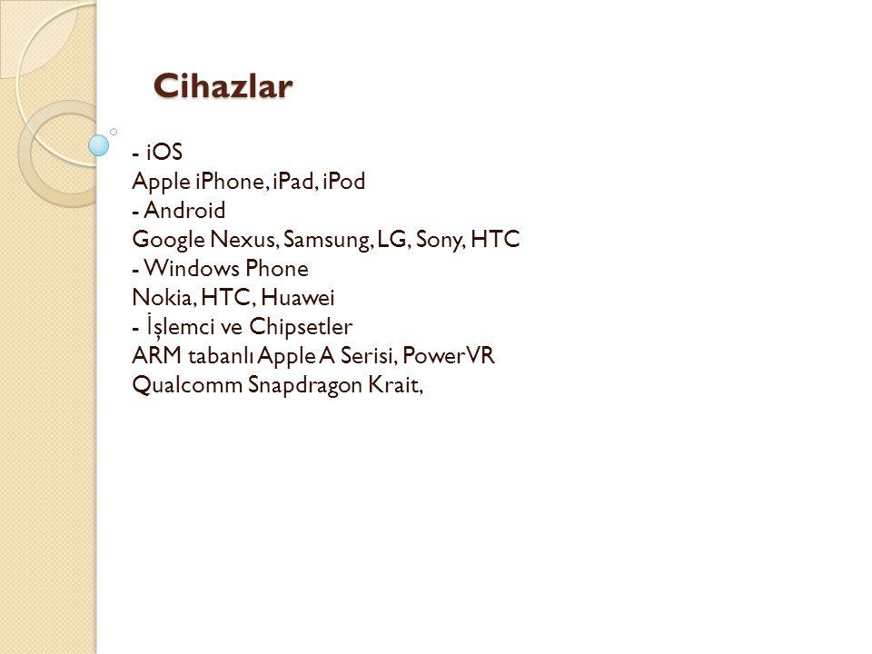 Cihazlar Cihazlar - iOS Apple iPhone, iPad, iPod - Android Google Nexus, Samsung, LG, Sony, HTC - Windows Phone Nokia, HTC, Huawei - İ şlemci ve Chips