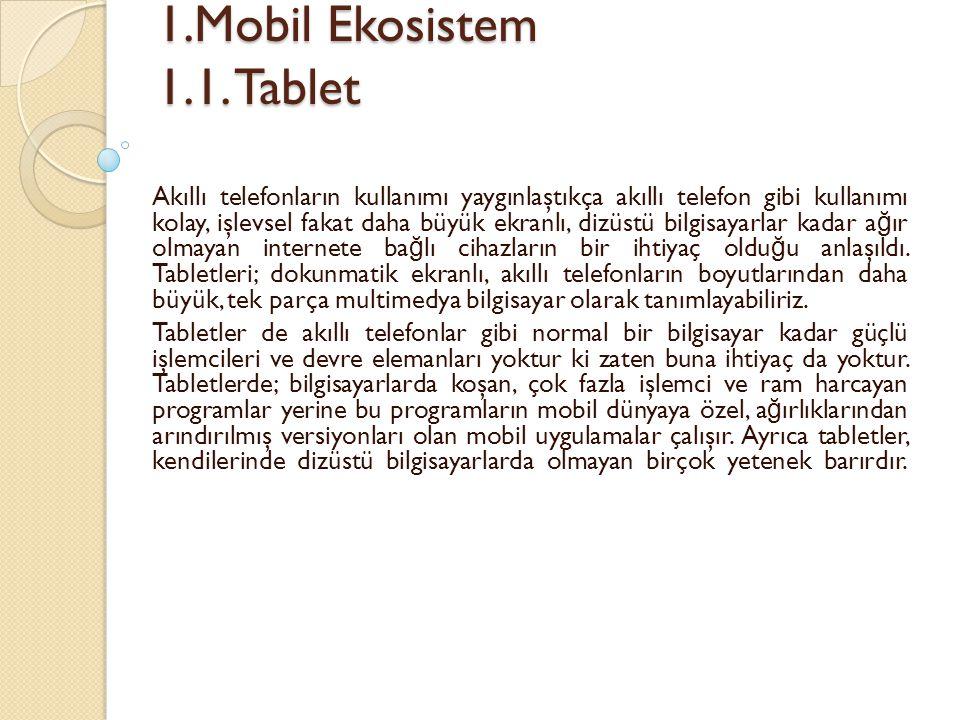 1.Mobil Ekosistem 1.1.Tablet 1.Mobil Ekosistem 1.1.