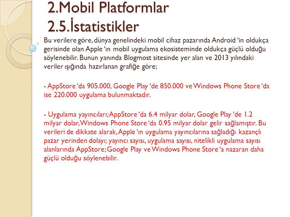 2.Mobil Platformlar 2.5. İ statistikler 2.Mobil Platformlar 2.5. İ statistikler Bu verilere göre, dünya genelindeki mobil cihaz pazarında Android 'in