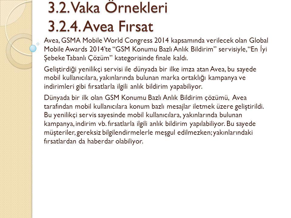 3.2. Vaka Örnekleri 3.2.4. Avea Fırsat 3.2. Vaka Örnekleri 3.2.4. Avea Fırsat Avea, GSMA Mobile World Congress 2014 kapsamında verilecek olan Global M