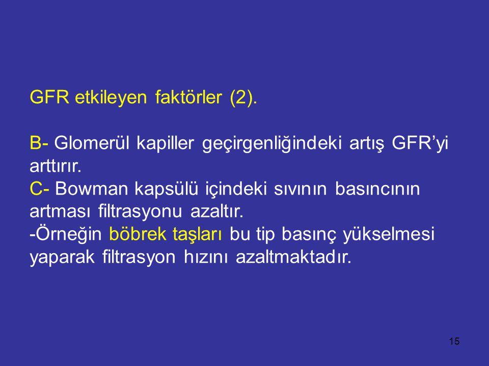 GFR etkileyen faktörler (2). B- Glomerül kapiller geçirgenliğindeki artış GFR'yi arttırır. C- Bowman kapsülü içindeki sıvının basıncının artması filtr