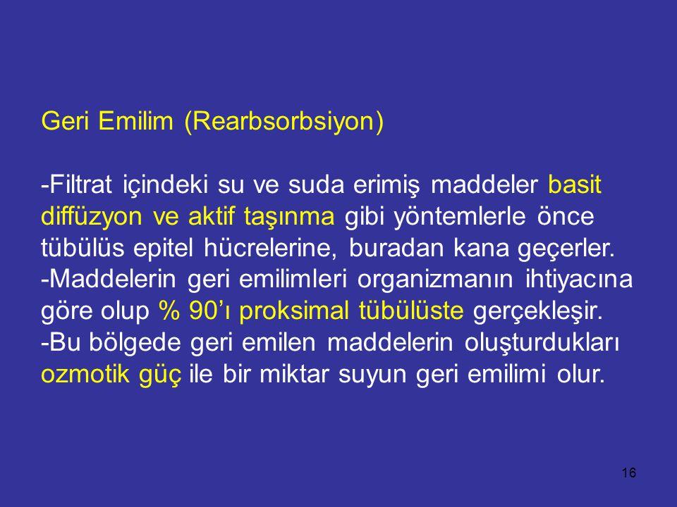 Geri Emilim (Rearbsorbsiyon) -Filtrat içindeki su ve suda erimiş maddeler basit diffüzyon ve aktif taşınma gibi yöntemlerle önce tübülüs epitel hücrel