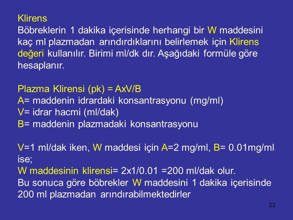Klirens Böbreklerin 1 dakika içerisinde herhangi bir W maddesini kaç ml plazmadan arındırdıklarını belirlemek için Klirens değeri kullanılır. Birimi m