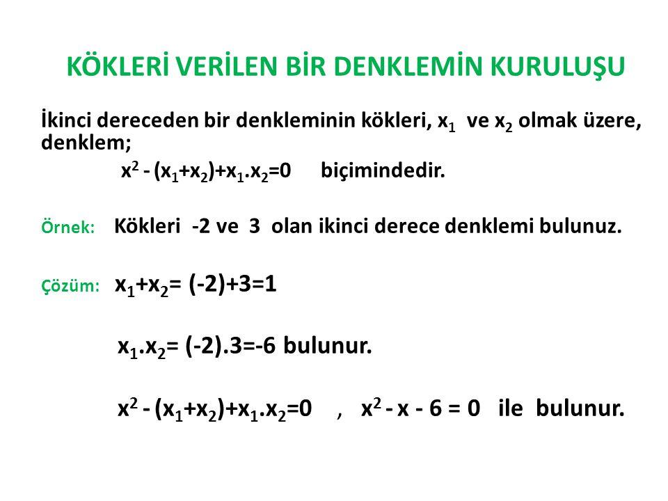 KÖKLERİ VERİLEN BİR DENKLEMİN KURULUŞU İkinci dereceden bir denkleminin kökleri, x 1 ve x 2 olmak üzere, denklem; x 2 - (x 1 +x 2 )+x 1.x 2 =0 biçimin