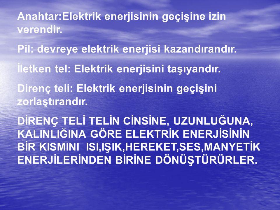 Anahtar:Elektrik enerjisinin geçişine izin verendir. Pil: devreye elektrik enerjisi kazandırandır. İletken tel: Elektrik enerjisini taşıyandır. Direnç
