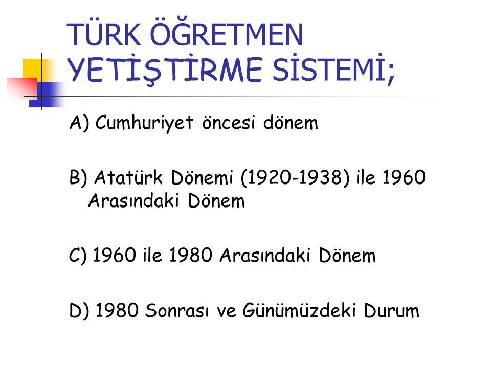 TÜRK ÖĞRETMEN YETİŞTİRME SİSTEMİ; A) Cumhuriyet öncesi dönem B) Atatürk Dönemi (1920-1938) ile 1960 Arasındaki Dönem C) 1960 ile 1980 Arasındaki Dönem