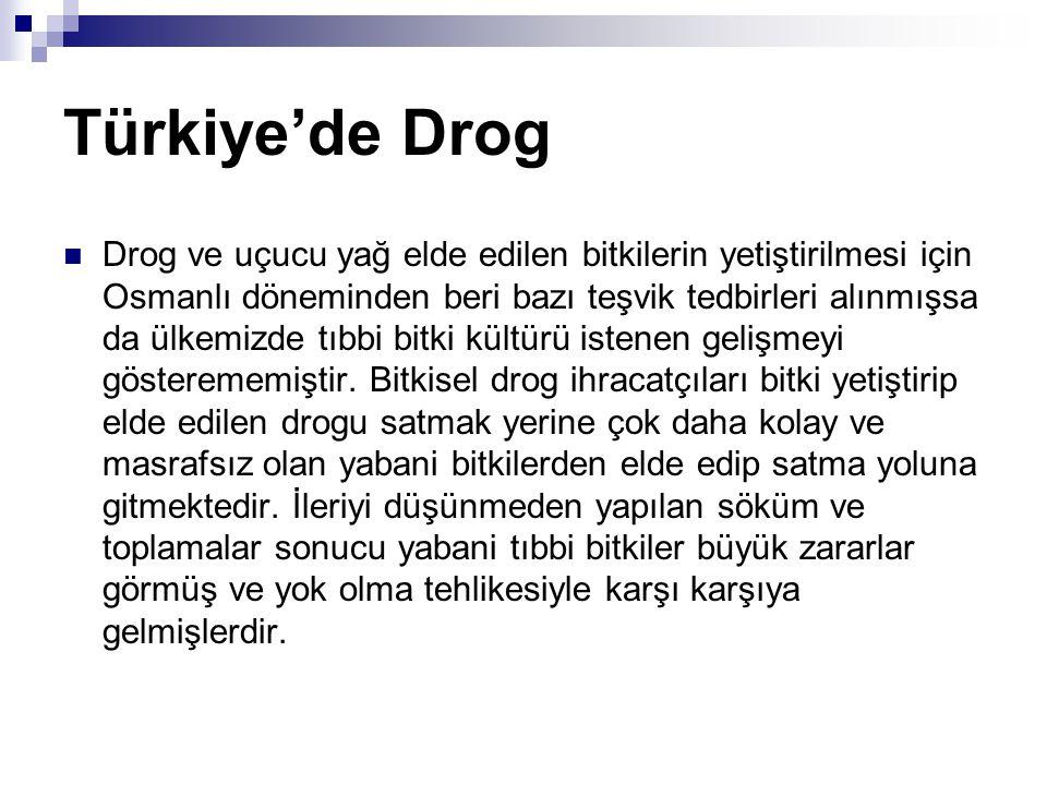 Türkiye'de Drog Drog ve uçucu yağ elde edilen bitkilerin yetiştirilmesi için Osmanlı döneminden beri bazı teşvik tedbirleri alınmışsa da ülkemizde tıb