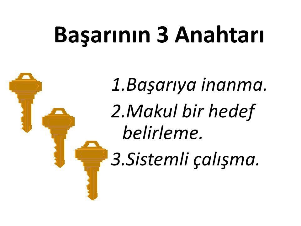Başarının 3 Anahtarı 1.Başarıya inanma. 2.Makul bir hedef belirleme. 3.Sistemli çalışma.