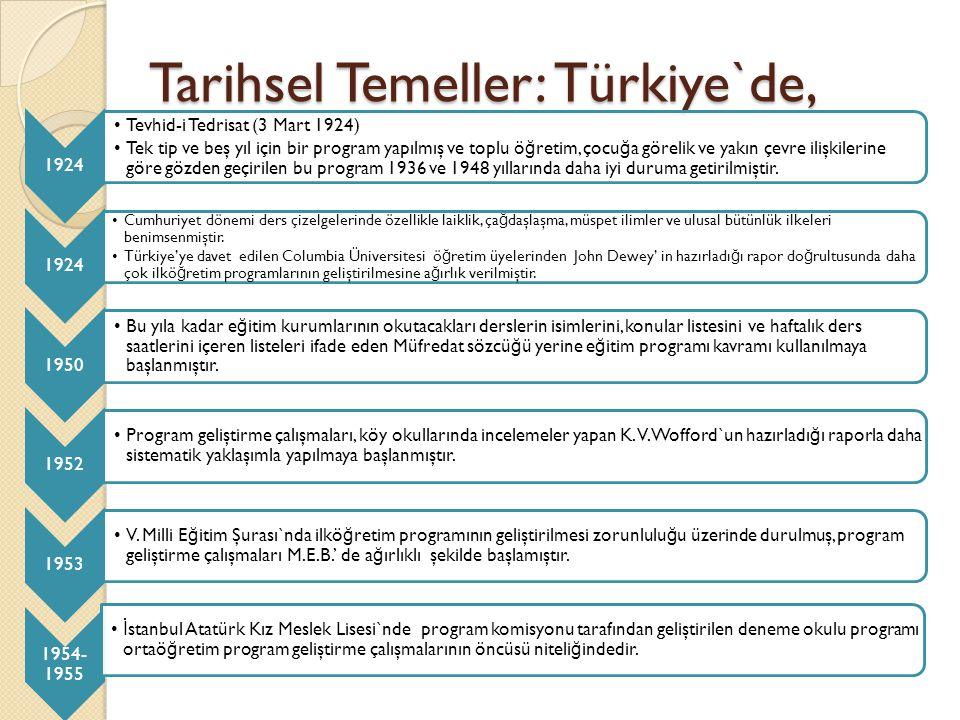 Tarihsel Temeller: Türkiye`de, 1924 Tevhid-i Tedrisat (3 Mart 1924) Tek tip ve beş yıl için bir program yapılmış ve toplu ö ğ retim, çocu ğ a görelik