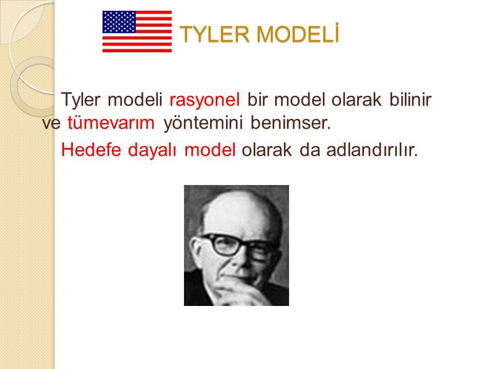 Tyler modeli rasyonel bir model olarak bilinir ve tümevarım yöntemini benimser. Hedefe dayalı model olarak da adlandırılır. ABD: TYLER MODELİ